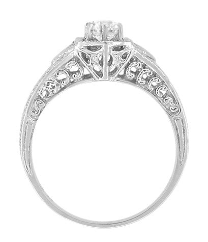 Art Deco White Sapphire Filigree Engraved Engagement Ring in 14 Karat White Gold - Item: R149WS - Image: 1