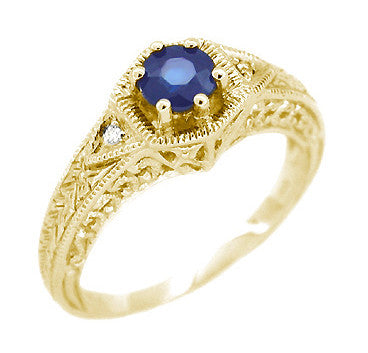 Antique Art Deco Hexagon Yellow Gold Sapphire and Side Diamond Filigree Engraved Engagement Ring - Circa 1920s - R149Y