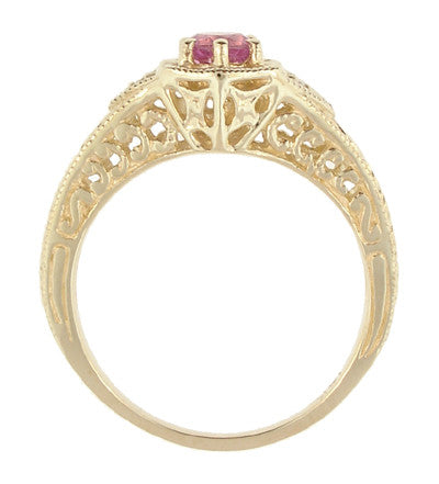 Art Deco Pink Sapphire and Diamond Filigree Engraved Engagement Ring in 14 Karat Yellow Gold - Item: R149YPS - Image: 2