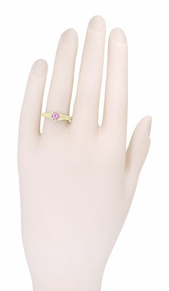 Art Deco Pink Sapphire and Diamond Filigree Engraved Engagement Ring in 14 Karat Yellow Gold - Item: R149YPS - Image: 3
