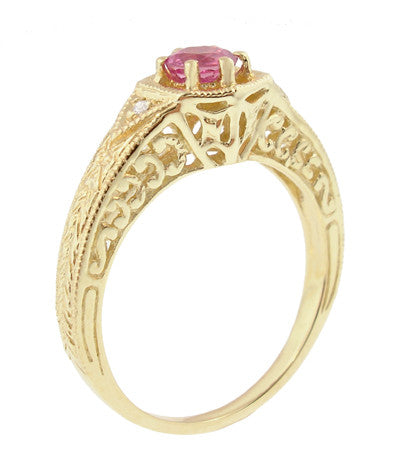Art Deco Pink Sapphire and Diamond Filigree Engraved Engagement Ring in 14 Karat Yellow Gold - Item: R149YPS - Image: 1
