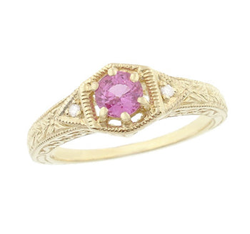 Art Deco Yellow Gold Pink Sapphire and Diamond Filigree Engraved Hexagon Engagement Ring