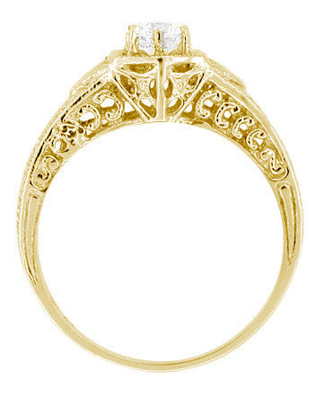 Art Deco White Sapphire Filigree Engraved Engagement Ring in 14 Karat Yellow Gold - Item: R149YWS - Image: 2