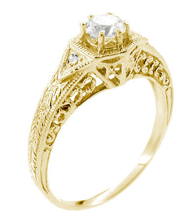 Art Deco White Sapphire Filigree Engraved Engagement Ring in 14 Karat Yellow Gold - Item: R149YWS - Image: 1