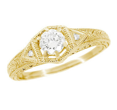 Art Deco White Sapphire Filigree Engraved Engagement Ring in 14 Karat Yellow Gold