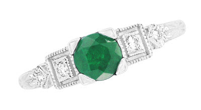 Art Deco Diamonds and Emerald Engagement Ring in Platinum - Item: R155P - Image: 3