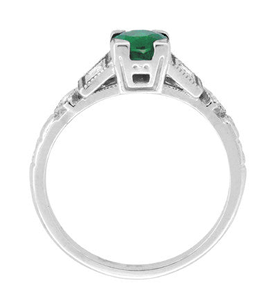 Art Deco Diamonds and Emerald Engagement Ring in Platinum - Item: R155P - Image: 4