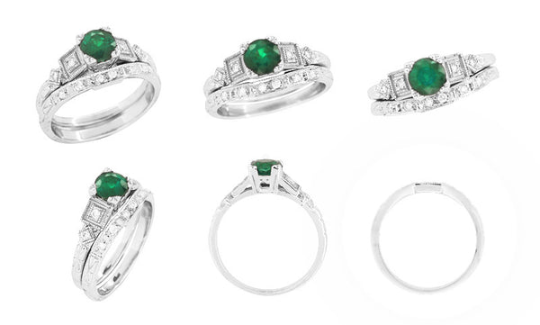 Art Deco Diamonds and Emerald Engagement Ring in Platinum - Item: R155P - Image: 5