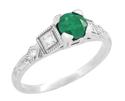 Art Deco Diamonds and Emerald Engagement Ring in Platinum - Item: R155P - Image: 1