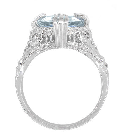 Art Deco Filigree Oval Aquamarine Ring in 14 Karat White Gold | 3.5 Carats - Item: R157A - Image: 3