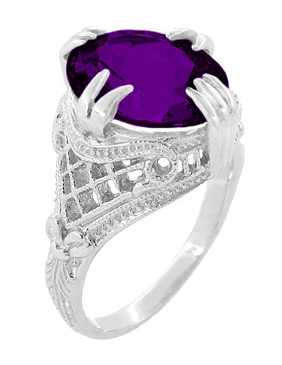 Amethyst Art Deco Filigree Ring in 14 Karat White Gold - Item: R157AM - Image: 2