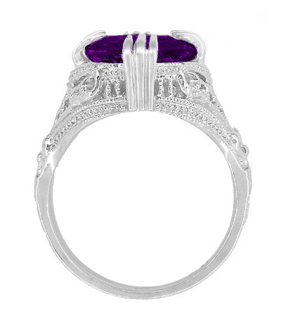 Amethyst Art Deco Filigree Ring in 14 Karat White Gold - Item: R157AM - Image: 3