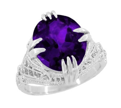 Amethyst Art Deco Filigree Ring in 14 Karat White Gold - Item: R157AM - Image: 1