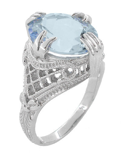 Oval Aquamarine Art Deco Filigree Ring in Platinum - March Birthstone - Item: R157PA - Image: 2