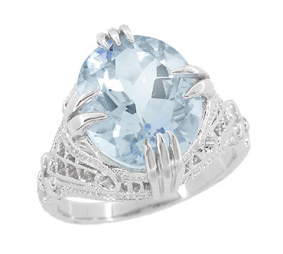 Oval Aquamarine Art Deco Filigree Ring in Platinum - March Birthstone - Item: R157PA - Image: 1