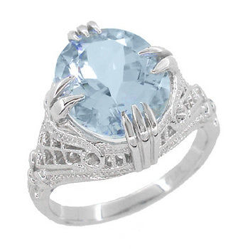 Oval Aquamarine Art Deco Filigree Ring in Platinum - March Birthstone