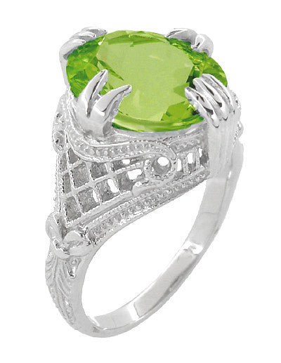 Art Deco Filigree 5.5 Carat Peridot Statement Ring in 14 Karat White Gold - Item: R157PER - Image: 2
