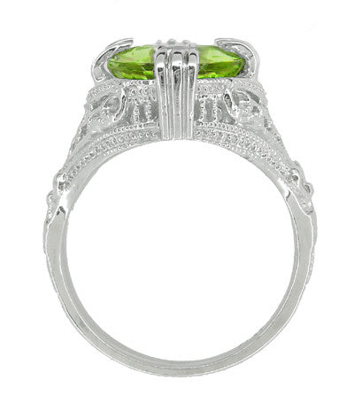 Art Deco Filigree 5.5 Carat Peridot Statement Ring in 14 Karat White Gold - Item: R157PER - Image: 3