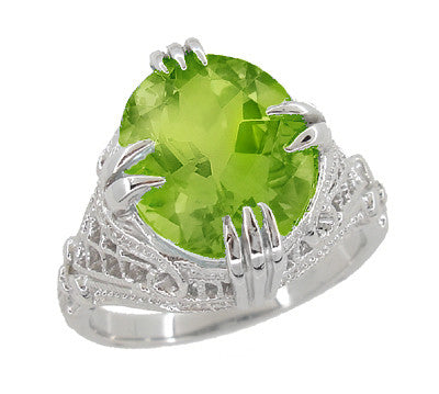Art Deco Filigree 5.5 Carat Peridot Statement Ring in 14 Karat White Gold - Item: R157PER - Image: 1