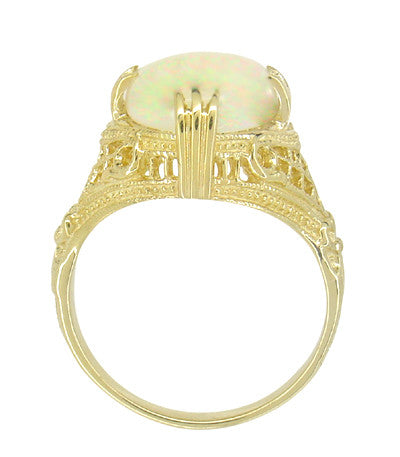 Art Deco White Opal Filigree Ring in 14 Karat Yellow Gold - October Birthstone - Item: R157Y - Image: 1