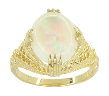 Art Deco White Opal Filigree Ring in 14 Karat Yellow Gold - October Birthstone