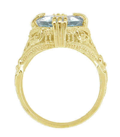 Aquamarine Art Deco Filigree Ring in 14 Karat Yellow Gold - Item: R157YA - Image: 3