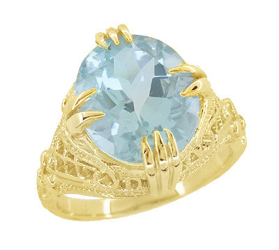 Aquamarine Art Deco Filigree Ring in 14 Karat Yellow Gold - Item: R157YA - Image: 2