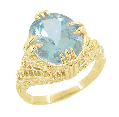 Aquamarine Art Deco Filigree Ring in 14 Karat Yellow Gold - Item: R157YA - Image: 1