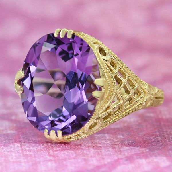 Amethyst Art Deco Filigree Ring in 14 Karat Yellow Gold - Item: R157YAM - Image: 2