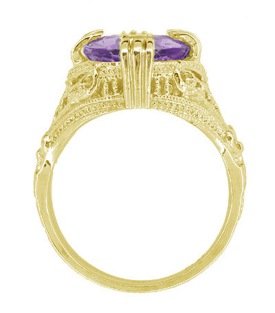 Amethyst Art Deco Filigree Ring in 14 Karat Yellow Gold - Item: R157YAM - Image: 1