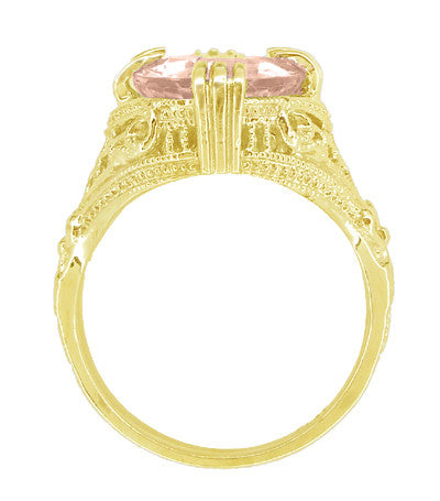 Morganite Oval Art Deco Filigree Ring in 14 Karat Yellow Gold - Item: R157YM - Image: 2