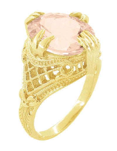 Morganite Oval Art Deco Filigree Ring in 14 Karat Yellow Gold - Item: R157YM - Image: 1