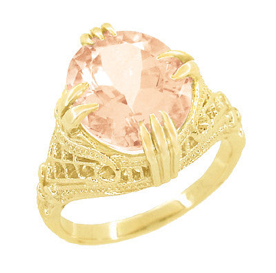 Morganite Oval Art Deco Filigree Ring in 14 Karat Yellow Gold
