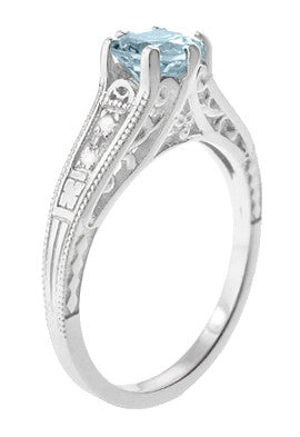 Art Deco Antique Style Filigree Aquamarine and Diamond Engagement Ring in 14 Karat White Gold - Item: R158A - Image: 2