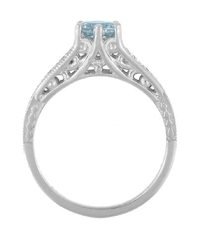 Art Deco Antique Style Filigree Aquamarine and Diamond Engagement Ring in 14 Karat White Gold - Item: R158A - Image: 3