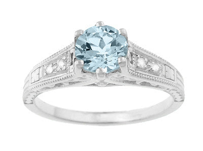 Art Deco Antique Style Filigree Aquamarine and Diamond Engagement Ring in 14 Karat White Gold - Item: R158A - Image: 4