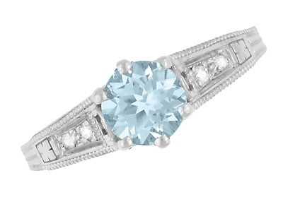 Art Deco Antique Style Filigree Aquamarine and Diamond Engagement Ring in 14 Karat White Gold - Item: R158A - Image: 5
