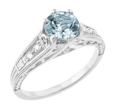 Art Deco Antique Style Filigree Aquamarine and Diamond Engagement Ring in 14 Karat White Gold - Item: R158A - Image: 1