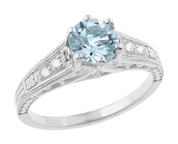 Art Deco Antique Style Filigree Aquamarine and Diamond Engagement Ring in 14 Karat White Gold