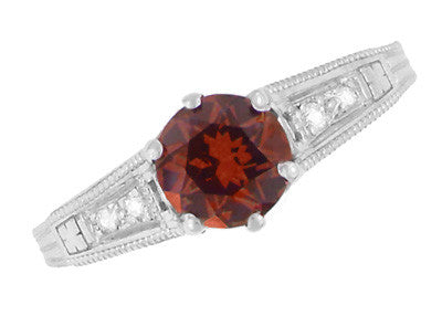 Art Deco Almandine Garnet and Diamond Filigree Artisan Engagement Ring in 14 Karat White Gold - Item: R158AG - Image: 3