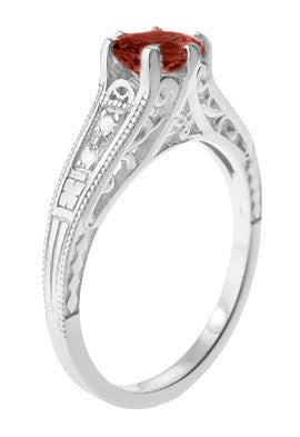 Art Deco Almandine Garnet and Diamond Filigree Artisan Engagement Ring in 14 Karat White Gold - Item: R158AG - Image: 1
