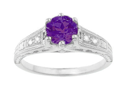 1920's Art Deco Filigree Amethyst Engagement Ring with Diamonds in 14K White Gold - Item: R158AM - Image: 4