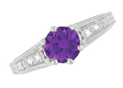 1920's Art Deco Filigree Amethyst Engagement Ring with Diamonds in 14K White Gold - Item: R158AM - Image: 5