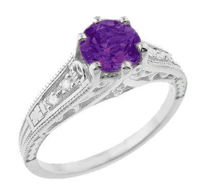 1920's Art Deco Filigree Amethyst Engagement Ring with Diamonds in 14K White Gold - Item: R158AM - Image: 1
