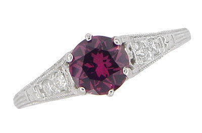 Vintage Style Raspberry Rhodolite Garnet and Diamond Filigree Engagement Ring in 14 Karat White Gold - Item: R158G - Image: 3