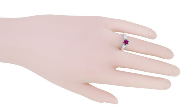 Vintage Style Raspberry Rhodolite Garnet and Diamond Filigree Engagement Ring in 14 Karat White Gold - Item: R158G - Image: 5