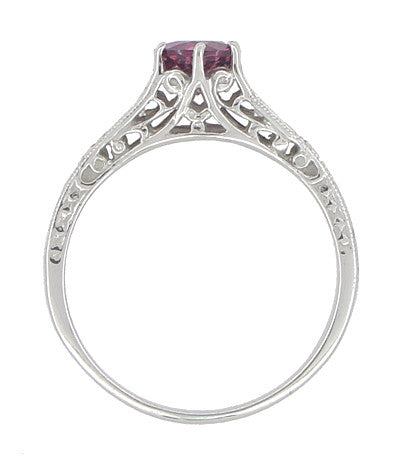 Vintage Style Raspberry Rhodolite Garnet and Diamond Filigree Engagement Ring in 14 Karat White Gold - Item: R158G - Image: 1