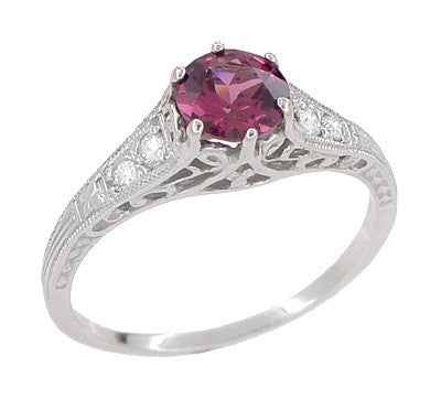 1920's Design Art Deco Raspberry Rhodolite Garnet and Diamond Filigree Engagement Ring in Platinum - Item: R158GP - Image: 4