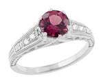 1920's Design Art Deco Raspberry Rhodolite Garnet and Diamond Filigree Engagement Ring in Platinum