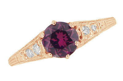 Rose Gold Art Deco Raspberry Rhodolite Garnet and Diamond Filigree Engagement Ring - Item: R158GPG - Image: 2